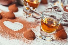 Whiskey or liqueur, truffle chocolate candies in cocoa powder an stock photos