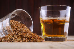 Whiskey and malt. Glass of whiskey and a glass of barley malt on a wooden background royalty free stock photo
