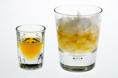 Whiskey neat and on the rocks Stock Photo