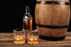 Whiskey and oak barrel Royalty Free Stock Images