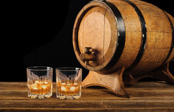Whiskey and oak barrel Royalty Free Stock Photography