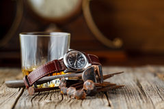 Whiskey and old rust tools Royalty Free Stock Photography
