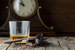 Whiskey and old rust tools Royalty Free Stock Photos