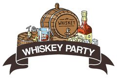 Whiskey party banner vector illustration. Glass with ice cubes and liquid, barrel with tap, bottle with label, cigar. Alcohol drink for restaurant, bar, cafe stock illustration