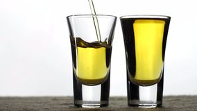 Whiskey is poured into two glasses stock footage