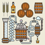 Whiskey production line or whisky making elements vector icons Royalty Free Stock Image