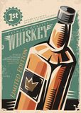 Whiskey retro vector poster. Design with whisky bottle on old paper background Stock Photography