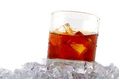 Whiskey on rocks royalty free stock photography