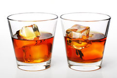 Whiskey on rocks Stock Image
