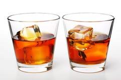 Whiskey on rocks Stock Image