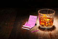 Whiskey on the Rocks or Scotch Stock Photo