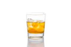 Whiskey on the rocks in white background Stock Images