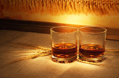 Whiskey on sacking Royalty Free Stock Photos