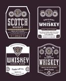 Whiskey and scotch whisky labels. Vector vintage whiskey and scotch whisky white and gold labels. Distilling business branding and identity design elements vector illustration