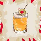 Whiskey sour cocktail illustration. Alcoholic bar drink hand drawn vector. Pop art stock illustration