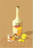 Whiskey. Still life with a bottle of whiskey and lemon Stock Photos