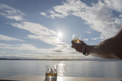 Whiskey sulle rocce al sole Fotografia Stock