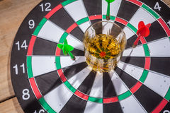 Whiskey on a target Royalty Free Stock Photography