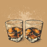 Whiskey in two glasses. Hand drawn style. Alcoholic drinks design.Vector illustration Royalty Free Stock Photo