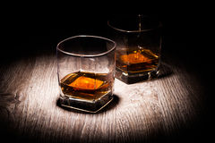 Whiskey in vetri Fotografie Stock Libere da Diritti