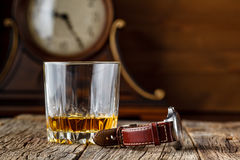 Whiskey and watch Stock Photo