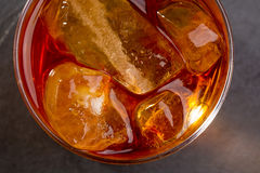 Whiskey whisky on the rocks on glass Stock Photography