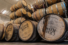 Whiskey and wine barrels. Maturing whiskey and wine in oak barrels Stock Image
