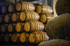 Whiskey or wine cellar. Whiskey or wine barrels in cellar Royalty Free Stock Image