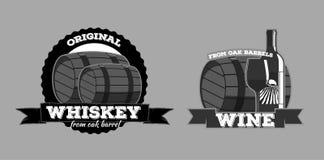 Whiskey wine logotypes. Set of icons logos whiskey bar pub wines Royalty Free Stock Photography