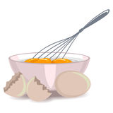 Whisking the Egg Yolk in the Bowl. Vector Illustration of Whisking the Egg Yolk in the Bowl Stock Photo