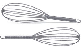 Whisks. This is a wire whisk - isolated on white or resting on the ground with a shadow royalty free illustration