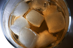 Whisky. Ice blocks in whisky, Scotch Royalty Free Stock Images