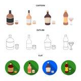 Whisky, alcoholische drank, rum, vermouth Pictogrammen van de alcohol de vastgestelde inzameling in beeldverhaal, overzicht, de v vector illustratie