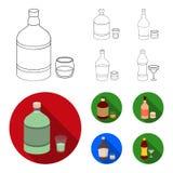 Whisky, alcoholische drank, rum, vermouth Pictogrammen van de alcohol de vastgestelde inzameling in overzicht, het vlakke Web van royalty-vrije illustratie