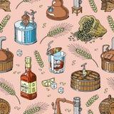 Whisky alkoholu napoju wektorowy brandy w szkle, napój i bourbon w butelki ilustracyjnym ustawiającym destylacja scotch ilustracja wektor