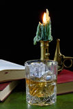 Whisky and Antique Candlestick Royalty Free Stock Photo