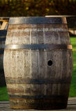 Whisky Barrel In A Pub Garden Scotland. Old Wooden Whisky Barrel In A Beer Garden In Scotland Royalty Free Stock Image