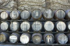 Whisky Barrel Stack. Stacked Whisky Barrels outside a Whisky distillery Royalty Free Stock Photography