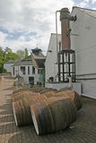 Whisky Barrels at Distillery in Scotland UK. Whisky Barrels in Scotland stock photos