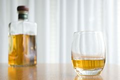 Whisky and Bottle Royalty Free Stock Image