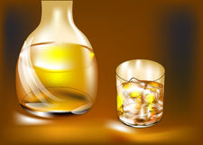 Whisky bottle and glass Royalty Free Stock Images