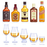 Whisky bottles and glasses icons set. Stock Photography
