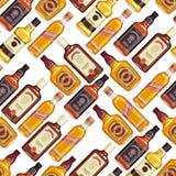 Whisky bottles seamless pattern background. Stock Image