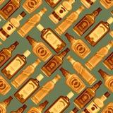 Whisky bottles seamless pattern background. Stock Photography