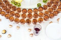 Whisky, bourbon, szampan, wino i owoc, fotografia stock