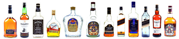 Whisky butelki Zdjęcia Royalty Free