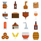 Whisky butelki szkła ikona ustawiający wektor odizolowywający ilustracji