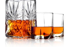 Whisky in a carafe and two glasses Stock Photography