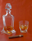Whisky and cigar Royalty Free Stock Image