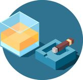 Whisky and cigar. Isometric glass of alcohol and the cigar on the ashtray Royalty Free Stock Images